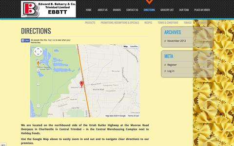 Screenshot of Maps & Directions Page beharrygrouptt.com - Edward B. Beharry & Co. Trinidad Limited (EBBTT) » Directions - captured Oct. 2, 2014