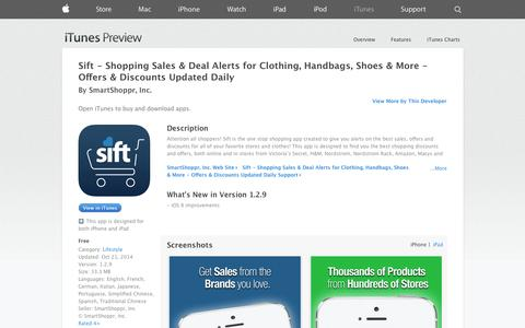 Screenshot of iOS App Page apple.com - Sift - Shopping Sales & Deal Alerts for Clothing, Handbags, Shoes & More - Offers & Discounts Updated Daily on the App Store on iTunes - captured Oct. 22, 2014