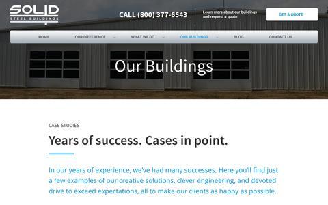Screenshot of Case Studies Page solidsteelbuildings.com - Case Studies - Solid Steel Buildings - captured Oct. 22, 2017