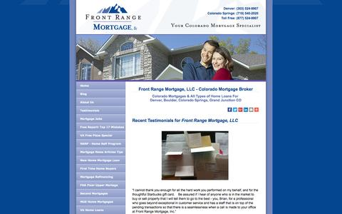 Screenshot of Testimonials Page frontrangemortgage.com - Colorado Mortgage Broker - Front Range Mortgage - Denver & Colorado Springs - captured Nov. 25, 2016