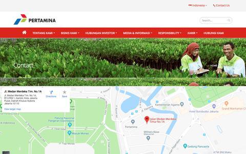 Screenshot of Contact Page pertamina.com - Contact | PT Pertamina (Persero) - captured July 17, 2018