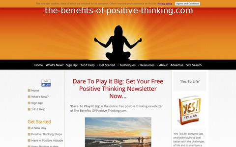 Screenshot of Signup Page the-benefits-of-positive-thinking.com - Free Positive Thinking Newsletter - captured Oct. 29, 2018