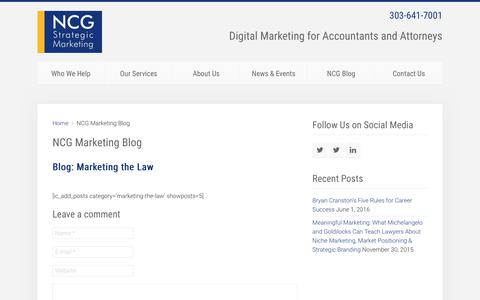 Screenshot of Blog ncgmarketing.com - NCG Marketing Blog - NCG Strategic Marketing - captured Oct. 18, 2018