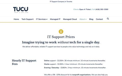 Screenshot of Pricing Page tucu.ca - IT Services Pricing • TUCU - captured Dec. 8, 2019