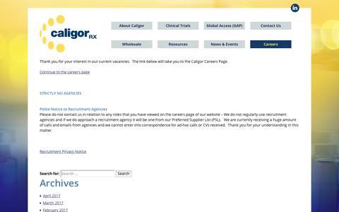 Screenshot of Jobs Page caligorrx.com - Careers Notice - Caligor - captured July 15, 2018