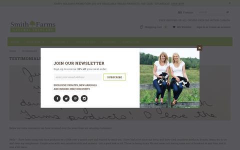Screenshot of Testimonials Page smithfarmsproducts.com - Testimonials – Smith Farms - captured Dec. 20, 2016