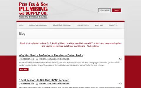 Screenshot of Blog pfplumbing.net - Blog | Pete Fer & Son Plumbing and Supply Co - captured Nov. 4, 2016