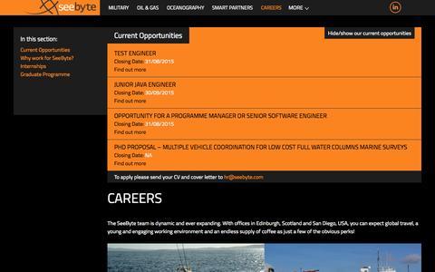 Screenshot of Jobs Page seebyte.com - Careers | SeeByte - captured Aug. 4, 2015