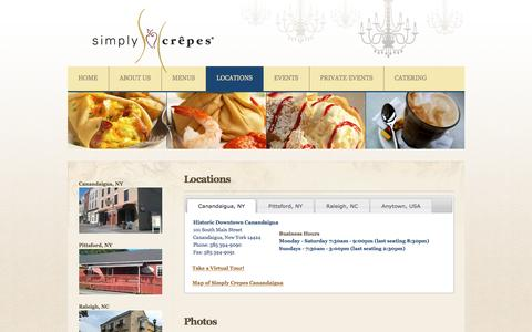 Screenshot of Locations Page simplycrepes.com - Simply Crêpes > Locations - captured Dec. 19, 2016