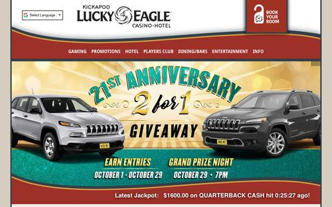 Screenshot of Home Page luckyeagletexas.com - Kickapoo Lucky Eagle Casino Hotel  in Eagle Pass, Texas! - captured Oct. 17, 2017