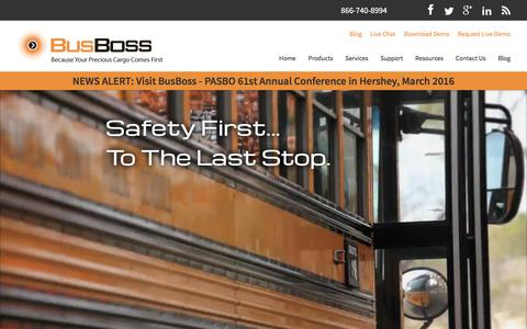 Screenshot of Home Page busboss.com - Comprehensive School Bus Routing Software Solutions - captured Feb. 14, 2016