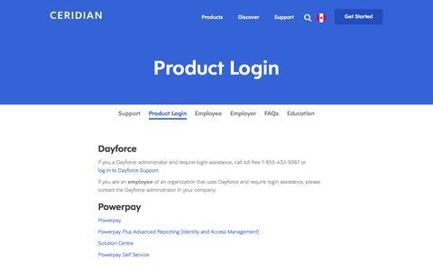Screenshot of Login Page ceridian.com - Login Links for Ceridian HR Payroll Applications - captured June 20, 2018