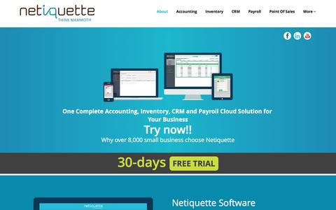 Screenshot of Home Page netiquette.com.sg - Netiquette Software Singapore| Cloud Accounting Software, Cloud Inventory, Cloud Payroll, Cloud CRM, Cloud Online Software - captured Feb. 17, 2016