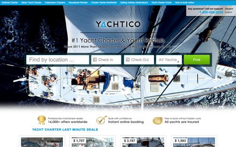 Screenshot of Home Page yachtico.com - Yacht Charter - Yacht Rentals - Boat Charters | YACHTICO.com - captured Oct. 14, 2015