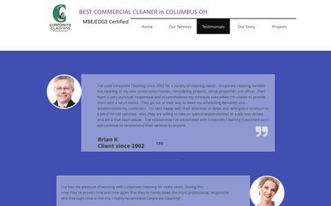 Screenshot of Testimonials Page corporatecleaning.us - Testimonials - captured Sept. 3, 2017