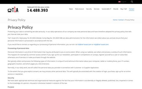Screenshot of Privacy Page tier1asset.com - Privacy Policy » Tier1Asset - captured May 29, 2019