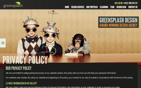 Screenshot of Privacy Page greensplashdesign.com - Read More About Our Privacy Policy At greensplashGreensplash - captured Nov. 16, 2016