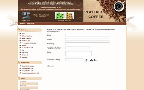 Screenshot of Trial Page playfaircoffee.com - Free Trial - captured Oct. 2, 2014