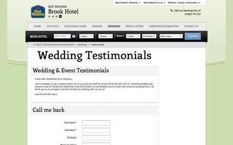 Screenshot of Testimonials Page bw-brookhotel.co.uk - Testimonials - captured Nov. 2, 2014