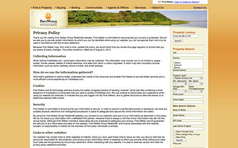 Screenshot of Privacy Page firstweber.com - Privacy Policy | First Weber Group REALTORS® - captured Sept. 23, 2014