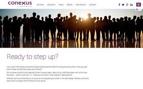 Screenshot of Jobs Page conexus.co.uk - Conexus   Omni channel commerce at the speed of your customer - captured July 15, 2016