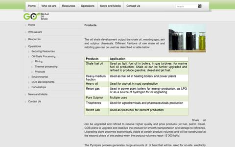 Screenshot of Products Page globaloilshale.com - Products | GLOBAL OIL SHALE - captured Oct. 3, 2014