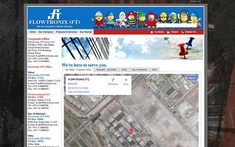 Screenshot of Locations Page flowtronix.com - Our Locations - captured Oct. 8, 2014