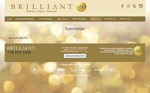 Screenshot of Testimonials Page brilliantlectures.org - Testimonials - Brilliant Lectures - captured Oct. 6, 2018