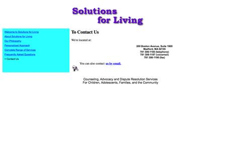 Screenshot of Contact Page solutionsforliving.org - To Contact LYRB - captured Feb. 26, 2016
