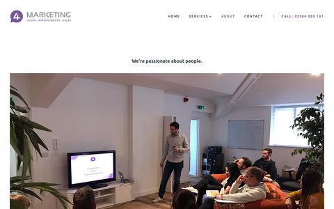 Screenshot of Team Page 4marketing.co.uk - 4Marketing — About 4Marketing Telemarketing Company Portsmouth, UK - captured Sept. 21, 2018