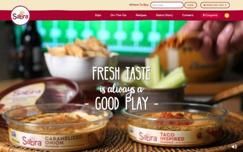 Screenshot of Home Page sabra.com - Fresh Hummus, Salsa, Guacamole & Dips from Sabra Dipping Company - captured Nov. 8, 2018