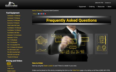 Screenshot of FAQ Page gastrailer.com - Frequently Asked Questions | Gas Trailer - captured Dec. 7, 2015