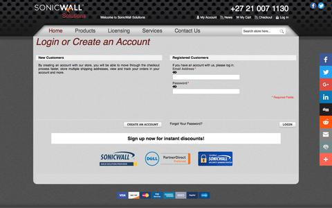 Screenshot of Login Page sonicwallsolutions.com - SonicWall Solutions  South Africa - captured Nov. 26, 2017
