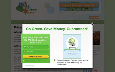 Screenshot of Privacy Page biggreenpurse.com - Privacy Policy - Big Green Purse - captured Aug. 2, 2018