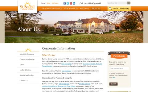 Screenshot of About Page sunriseseniorliving.com - About Sunrise Senior Living | Sunrise Senior Living - captured Sept. 19, 2014