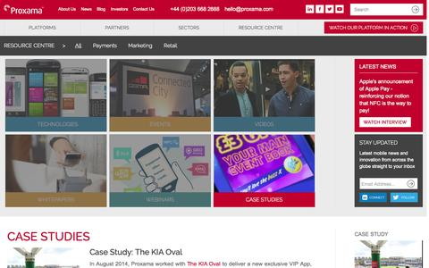 Screenshot of Case Studies Page proxama.com - CASE STUDIES | Proxama - captured Sept. 17, 2014