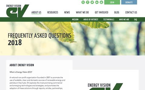 Screenshot of FAQ Page energy-vision.org - Frequently Asked Questions - Energy Vision - captured July 19, 2018