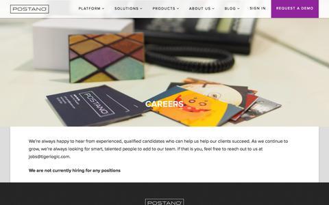 Screenshot of Jobs Page postano.com - Job Openings - Postano - captured Nov. 17, 2015