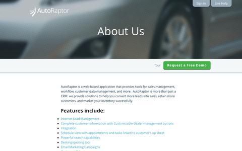 Screenshot of About Page autoraptor.com - AutoRaptor – Automotive Lead Management ILM and CRM  » About Us - captured Sept. 25, 2014