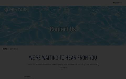 Screenshot of Contact Page pentair.com - Contact Us | Pentair - captured May 2, 2018