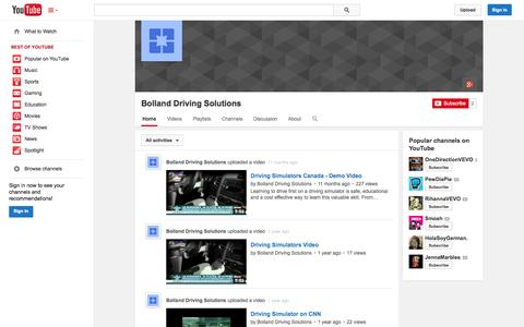 Screenshot of YouTube Page youtube.com - Bolland Driving Solutions  - YouTube - captured Oct. 23, 2014
