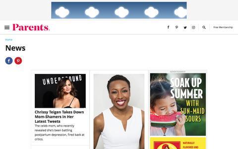 Screenshot of Press Page parents.com - News | Parents - captured Sept. 21, 2018