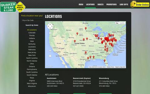 Screenshot of Locations Page thelube.com - Locations | Quaker Steak & Lube® - captured Sept. 19, 2014