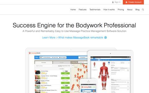 Screenshot of About Page massagebook.com - MassageBook: Massage Practice Software to simplify scheduling, massage SOAP note taking, website creation, and marketing - captured Aug. 9, 2016