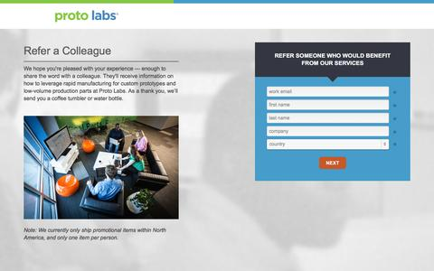 Screenshot of Landing Page protolabs.com - Register to receive a free Demo Mold design aid - captured Oct. 20, 2016