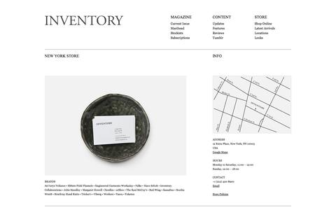 Screenshot of Locations Page inventorymagazine.com - Inventory Magazine - Locations - captured Sept. 23, 2014