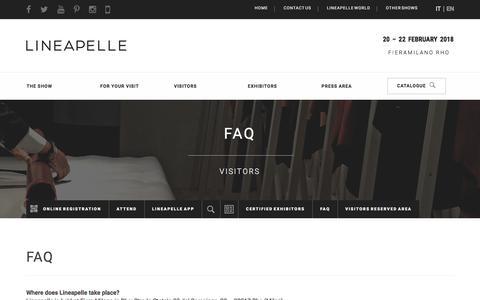 Screenshot of FAQ Page lineapelle-fair.it - FAQ Visitors | LINEAPELLE - captured Nov. 17, 2017