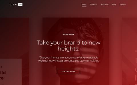 Screenshot of Home Page idealui.com - idealUI — UX — UI — Digital Products - captured Sept. 20, 2018