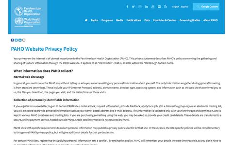 Screenshot of Privacy Page paho.org - PAHO WHO | PAHO Website Privacy Policy - captured April 19, 2018