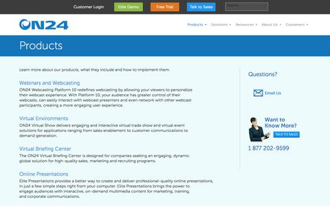 Screenshot of Products Page on24.com - Products - ON24 - captured Oct. 29, 2014